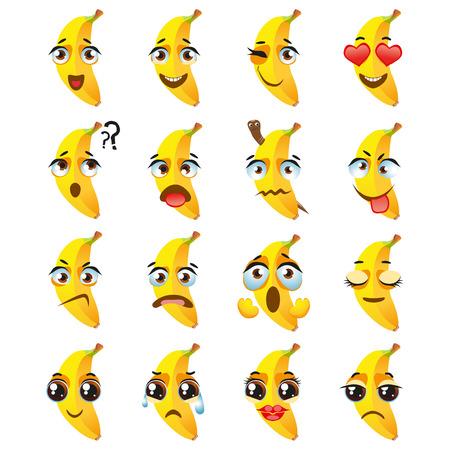 Ensemble d'autocollants vectoriels, emojis avec une jolie banane Vecteurs