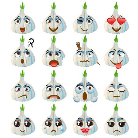 Set di adesivi vettoriali, emoji con aglio carino Vettoriali