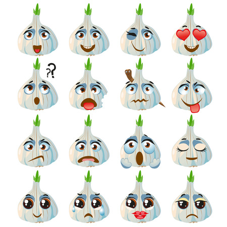 Set of vector stickers, emojis with cute garlic