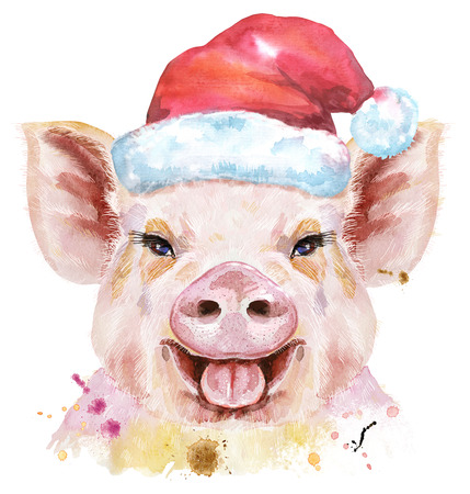 Cute piggy. Pig for T-shirt graphics. Watercolor pink pig in Santa hat illustration Stock Photo