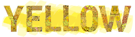 Hand-painted art design. Hand drawn illustration word YELLOW for t-shirt and other decoration