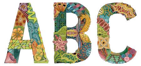 Letters A, B, C zentangle. Vector decorative object Illustration