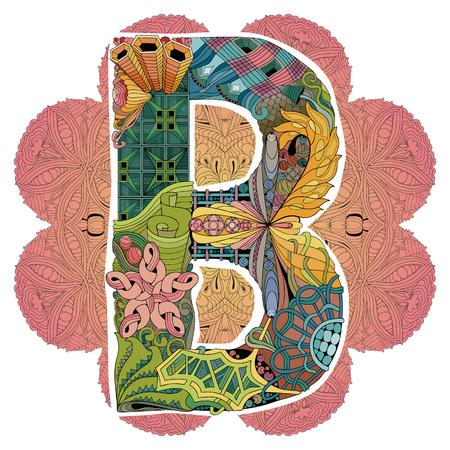 Hand-painted art design. Mandala with letter B for decoration Vektoros illusztráció
