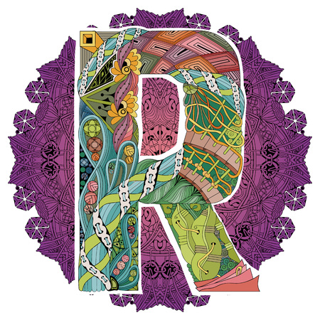 Mandala with letter R. Vector decorative zentangle object