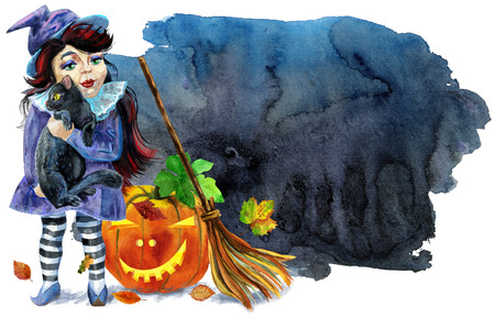 Halloween witch with black cat, pumpkin and broom on black background. Watercolor illustration Stock Photo