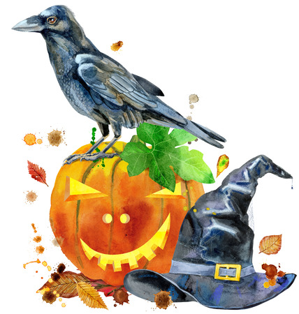 Watercolor Halloween. Hand drawn holiday illustrations isolated on white background: pumpkin, raven and witch hat. Artistic autumn decor clip art. Jack O Lantern