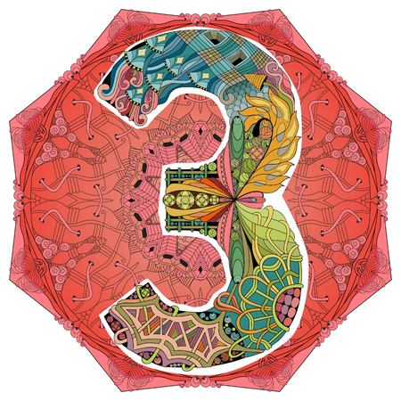 Mandala with number three decorative object for decoration