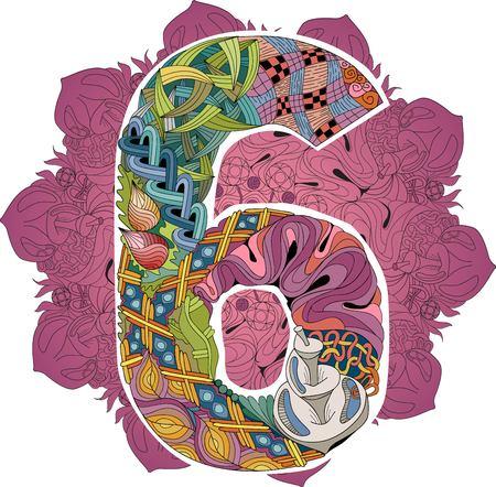 Mandala con objeto decorativo número seis para decoración