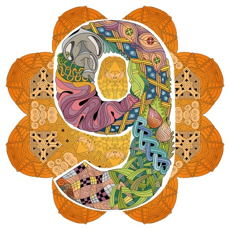 Mandala con oggetto decorativo numero nove per la decorazione Vettoriali