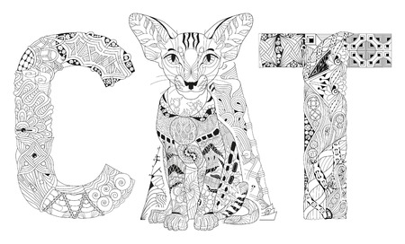 Hand-painted art design. Adult anti-stress coloring page. Black and white hand drawn illustration word cat for coloring book