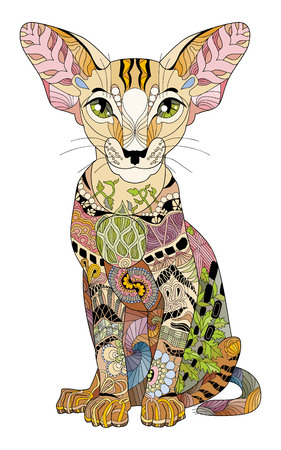 Cat styled with clean lines for t-shirt design, tattoo and other decorations