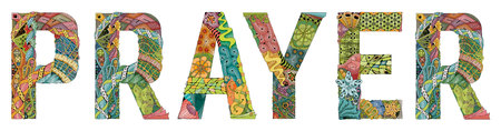 Word prayer. Vector decorative zentangle object for deoration 일러스트