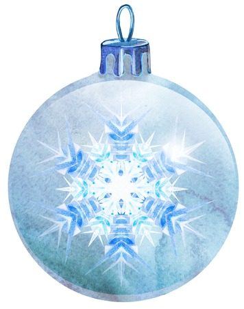 Watercolor Christmas white ball with snowlake isolated on a white background. Stock Photo