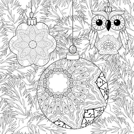 Zentangle stylized Christmas decorations with spruce branches. Hand Drawn lace vector illustration Vektorové ilustrace