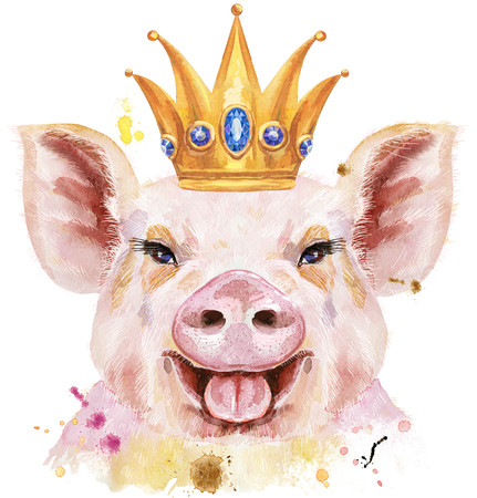 Cute piggy. Pig for T-shirt graphics. Watercolor pink pig with crown Stock Photo