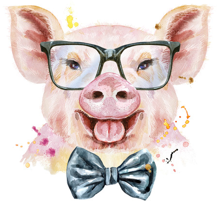 Cute piggy. Pig for T-shirt graphics. Watercolor pink pig with bow-tie and glasses