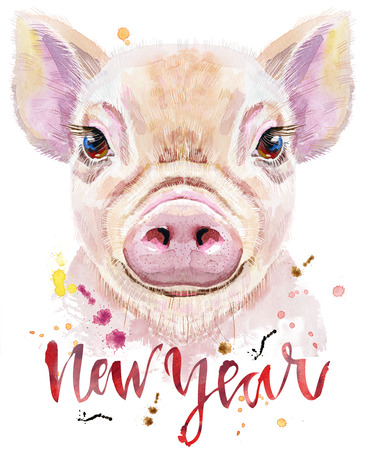 Cute piggy with the inscription New Year. Pig for T-shirt graphics. Watercolor pink mini pig illustration Stock Photo