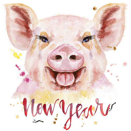 Cute piggy with the inscription New Year. Pig for T-shirt graphics.