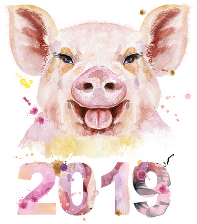 Cute piggy with year 2019. Pig for t-shirt graphics. Stock Photo