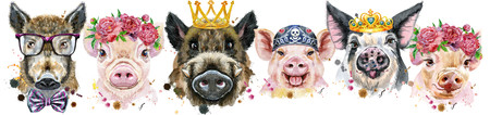 Cute border from watercolor portraits of pigs.