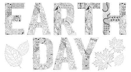 Hand-painted art design. Adult anti-stress coloring page. Black and white hand drawn illustration words EARTH DAY for coloring book, for anti stress, t-shirt design, tattoo and other decorations