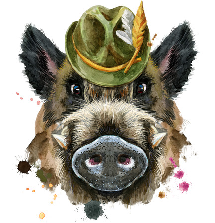 Cute piggy green hat. Wild boar for T-shirt graphics. Watercolor brown boar illustration