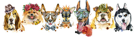 Cute border from watercolor portraits of dogs. For t-shirt graphics. Watercolor dogs illustration