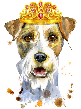 Watercolor portrait of airedale terrier dog with crown Stock Photo