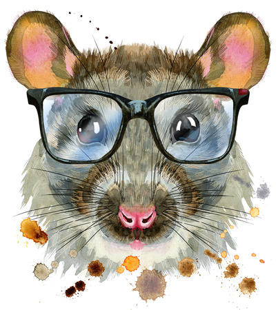 Cute rat with big black glasses for t-shirt graphics. Watercolor rat illustration