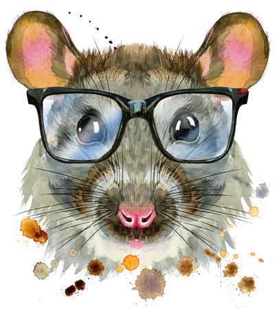 Cute rat with big black glasses for t-shirt graphics. Watercolor rat illustration
