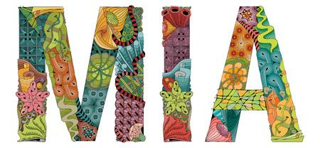 Hand-painted art design. Hand drawn illustration female name MIA for t-shirt and other decoration Ilustração