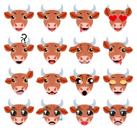Set of vector stickers, emojis with cute bull