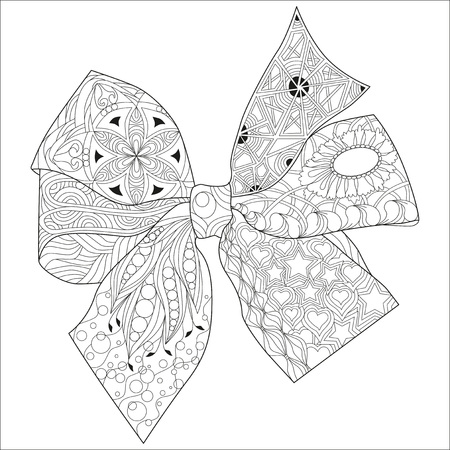 Bow-knot zentangle styled with clean lines for for coloring book, t-shirt design, tattoo and other decorations