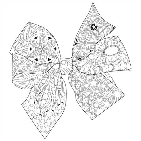 Zentangle w kształcie kokardki z czystymi liniami do kolorowania książki, projektowania koszulek, tatuażu i innych dekoracji