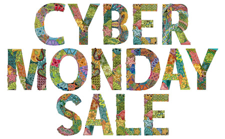 Words CYBER MONDAY SALE. Vector zentangle object for decoration Stok Fotoğraf
