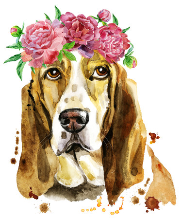 Watercolor portrait of basset hound with wreath of flowers