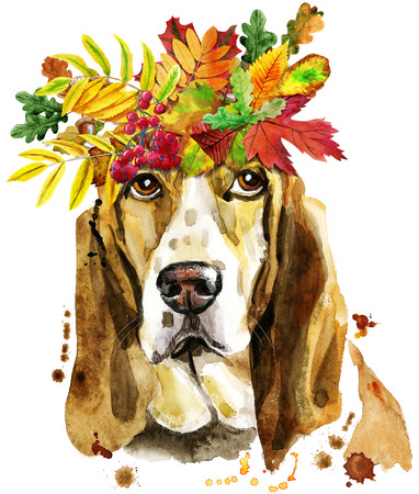Watercolor portrait of basset hound with wreath of autumn leaves