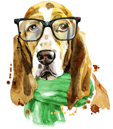 Watercolor portrait of basset hound with glasses and green scarf