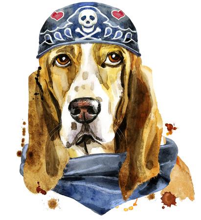 Watercolor portrait of basset hound wearing biker bandana Stock Photo