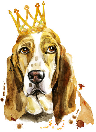 Watercolor portrait of basset hound with crown