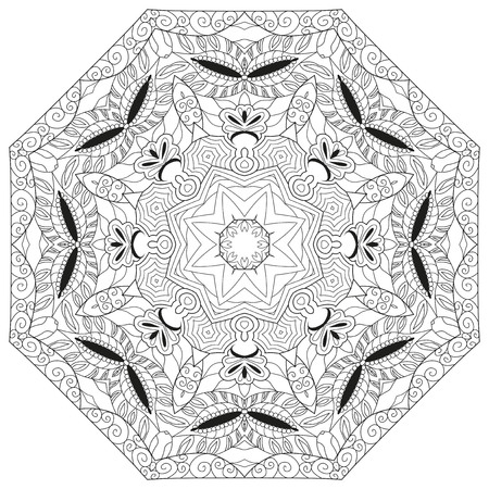 Hand drawn zentangle circular ornament for coloring page. Imagens - 119737373