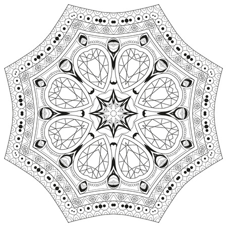 Hand drawn zentangle circular ornament for coloring page. 矢量图像
