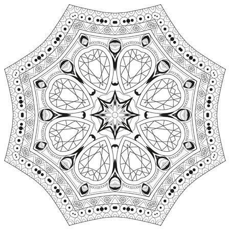 Handgezeichnete zentangle kreisförmige Verzierung zum Ausmalen.