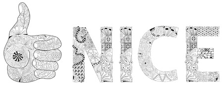Zentangle stylized hand thumbs up line color icon with word NICE for coloring. Hand Drawn lace vector illustration  イラスト・ベクター素材