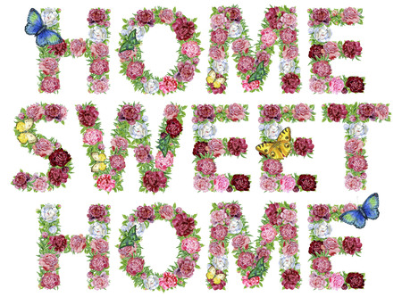 Words HOME SWEET HOME of watercolor flowers, isolated hand drawn on a white background, wedding design, english alphabet 免版税图像