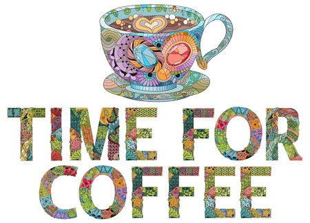 Hand-painted art design. Hand drawn illustration words TIME FOR COFFEE with cup silhouette for t-shirt and other decoration