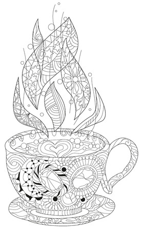 Vector coffee or tea cup with abstract ornaments. Hand drawn illustration for coloring book for adult in zentangle, doodle style. Coloring pages.