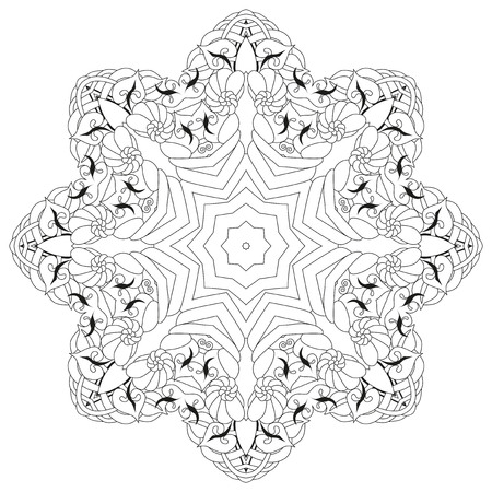 Vector Adult Coloring Book Textures. Hand-painted art design. Adult anti-stress coloring page. Black and white hand drawn illustration for coloring book.