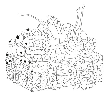 Vector piece of cake with abstract ornaments. Hand drawn illustration for coloring book for adult in zentangle, doodle style. Coloring pages. Banque d'images - 121450874
