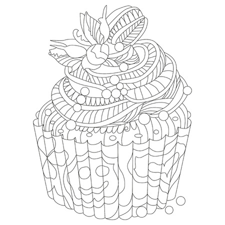 Vector piece of cake with abstract ornaments. Hand drawn illustration for coloring book for adult in zentangle, doodle style. Coloring pages.
